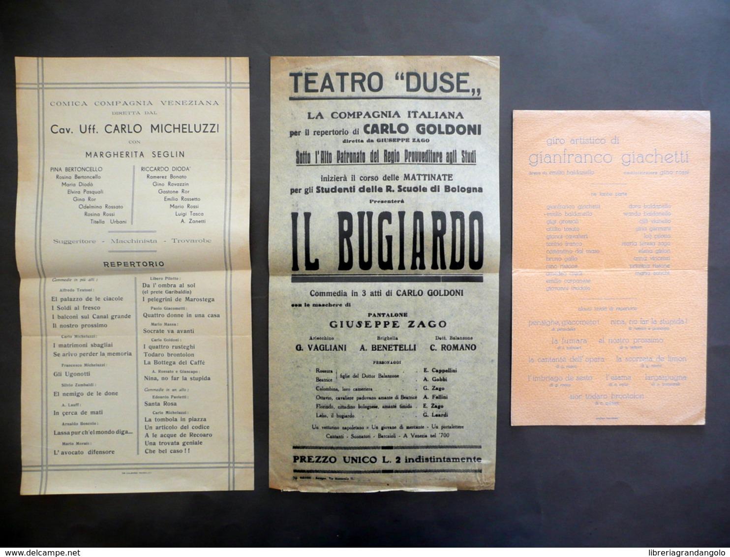 3 Locandine Teatro Duse Comica Compagnia Veneziana Giro Artistico Giachetti '900 - Non Classificati