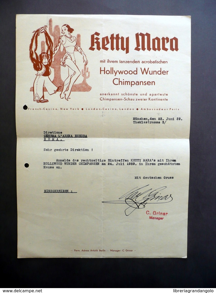Avanspettacolo Teatro Ketty Mora Hollywood Wunder Chimpansen Lettera 1939 Roma - Vecchi Documenti