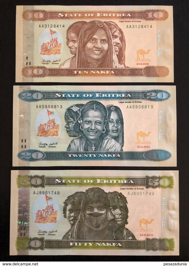 ERITREA SET 10 20 50 NAKFA BANKNOTES 2011-2012 UNC - Eritrea