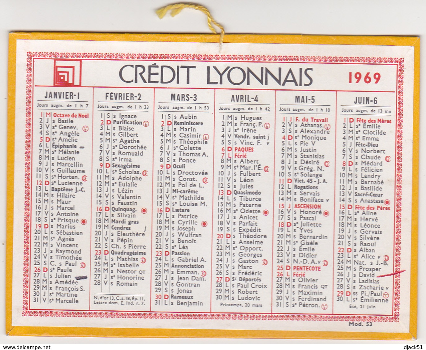 Calendrier Cartonné CREDIT LYONNAIS 1969 - Petit Format : 1961-70