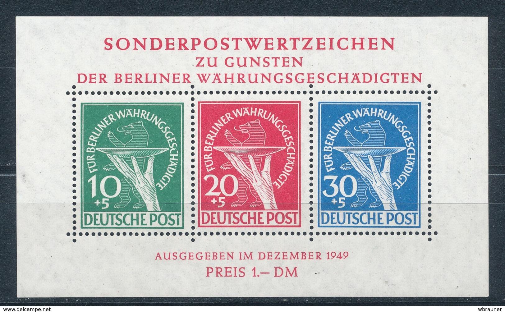 Berlin Block 1 Plattenfehler II ** Fotoattest Schlegel Mi. 2500,- - Ungebraucht