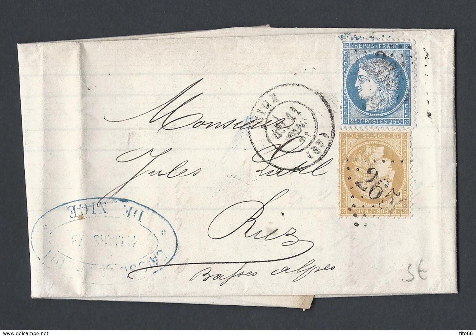 N° Y/T Cérès 60 A Et 59 Sur Lettre Caisse De Crédit De Nice TAD 11/03/1873 GC 2656 Vers Riez - Postmark Collection (Covers)