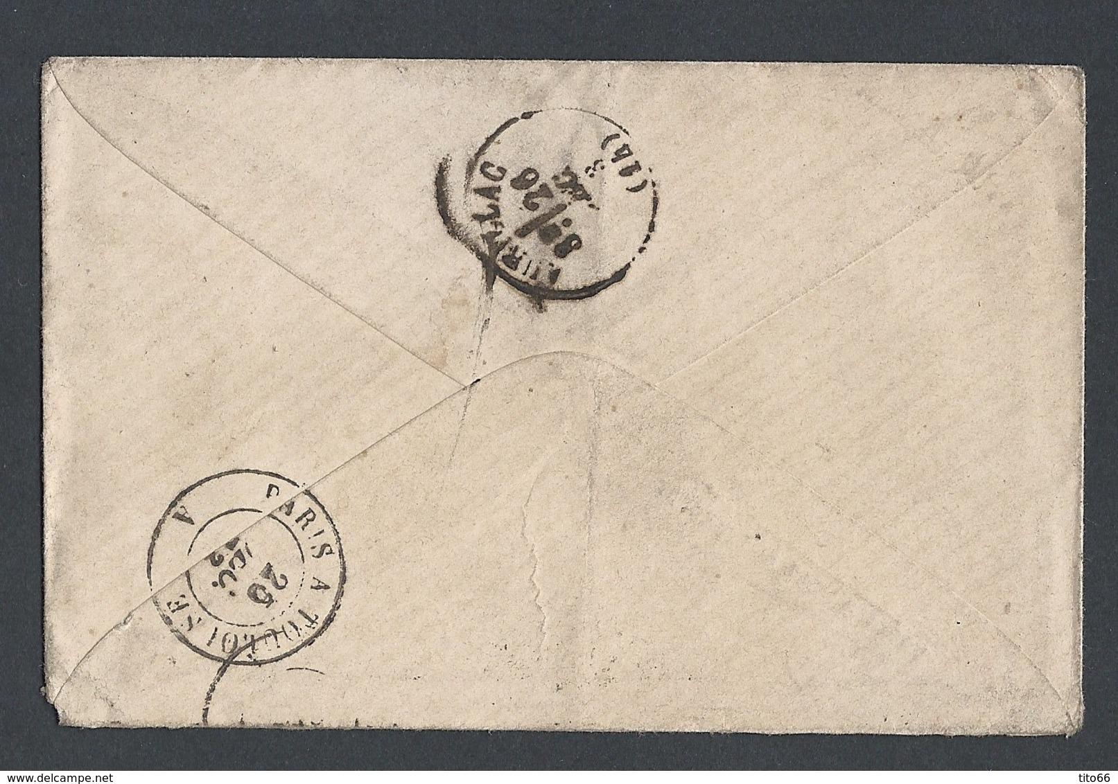 N° Y/T Cérès 58 Et 59 Sur Enveloppe De Paris Vers Aurillac 25/12/1873 - Marcophilie (Lettres)