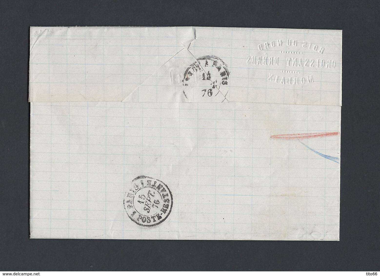 N° Y/T 78 X 3 En Bande Sage Sur Lettre Recommandé De Morlaix TAD 14/09/1876  Vers Paris - Marcophilie (Lettres)