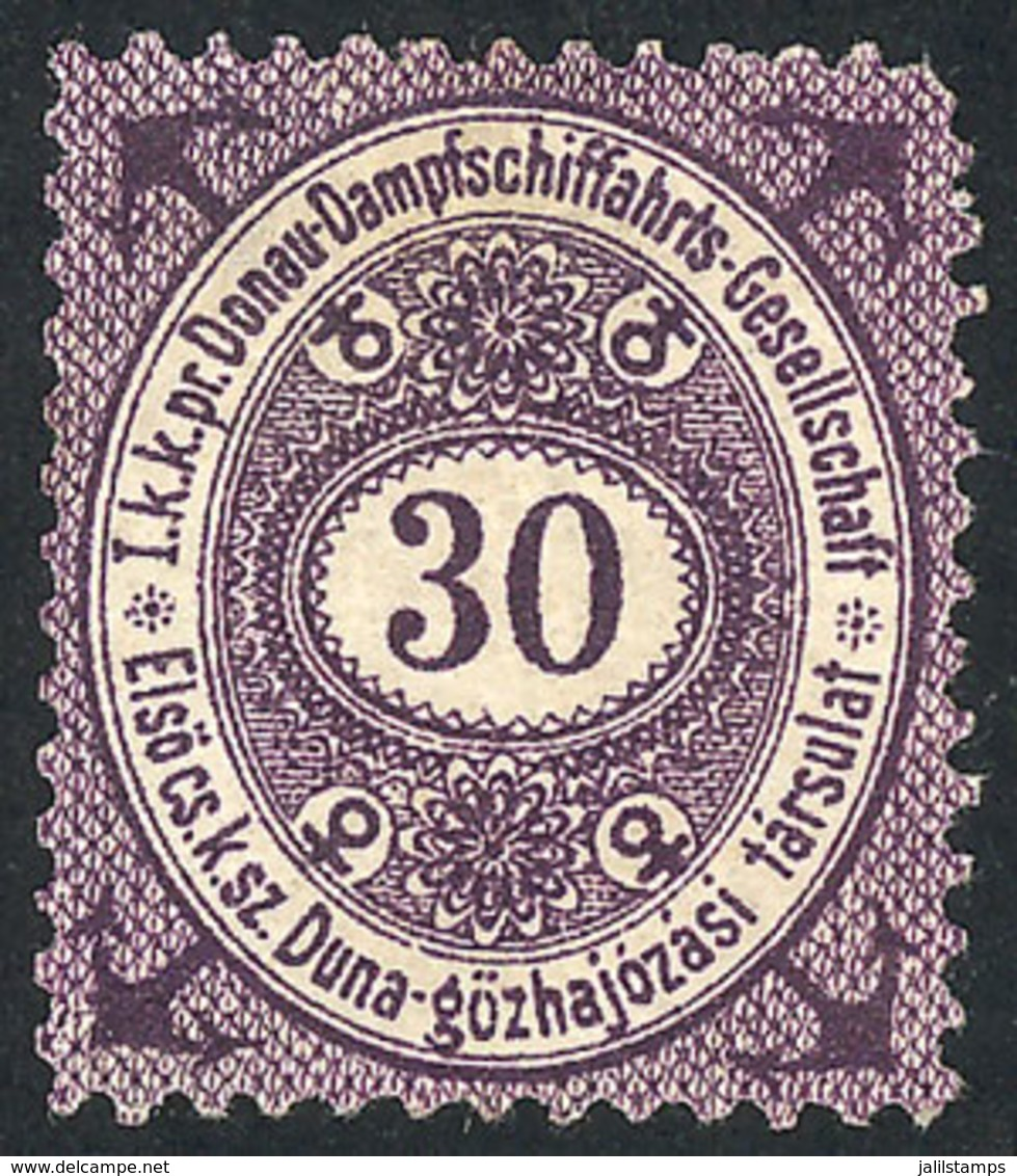 AUSTRIA: Danube Steamboat Shipping Co.: Interesting Cinderella Of  30Kr., Mint Without Gum, Very Attractive! - Austria