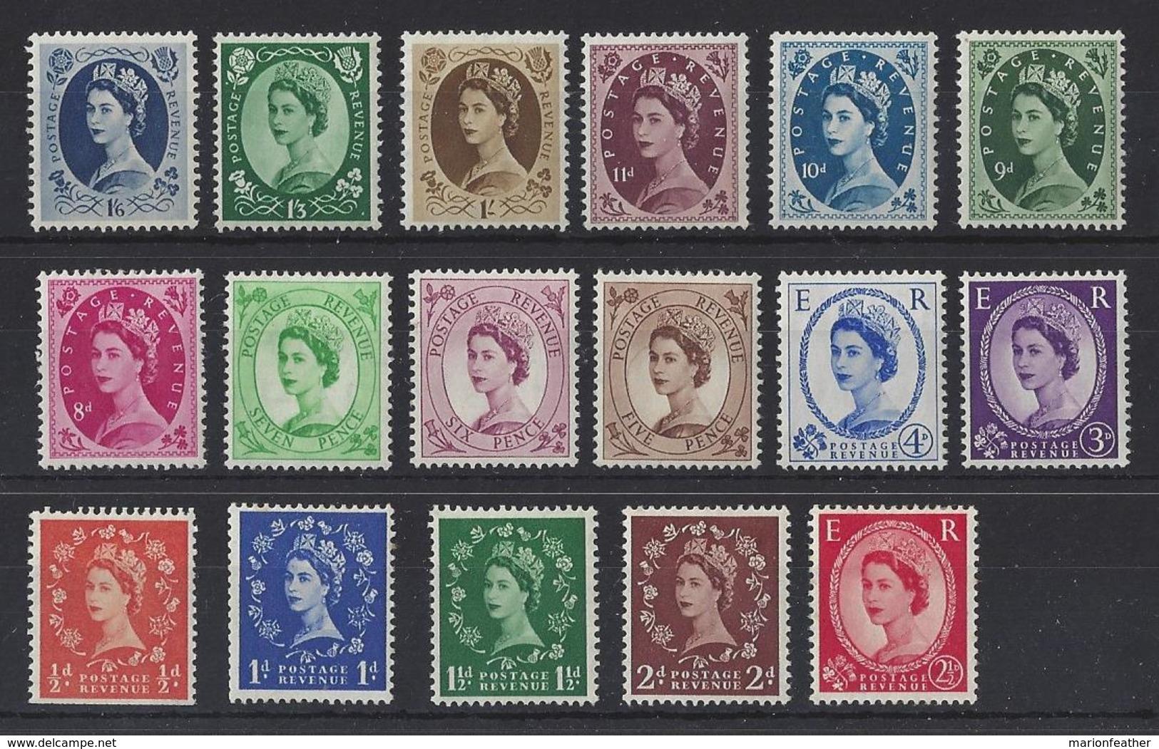 """GB..QUEEN ELIZABETH II.(1952-NOW).."""" WILDINGS """" SET OF 17...SG515-531...(CAT £100.)...MH.. - 1952-.... (Elizabeth II)"""