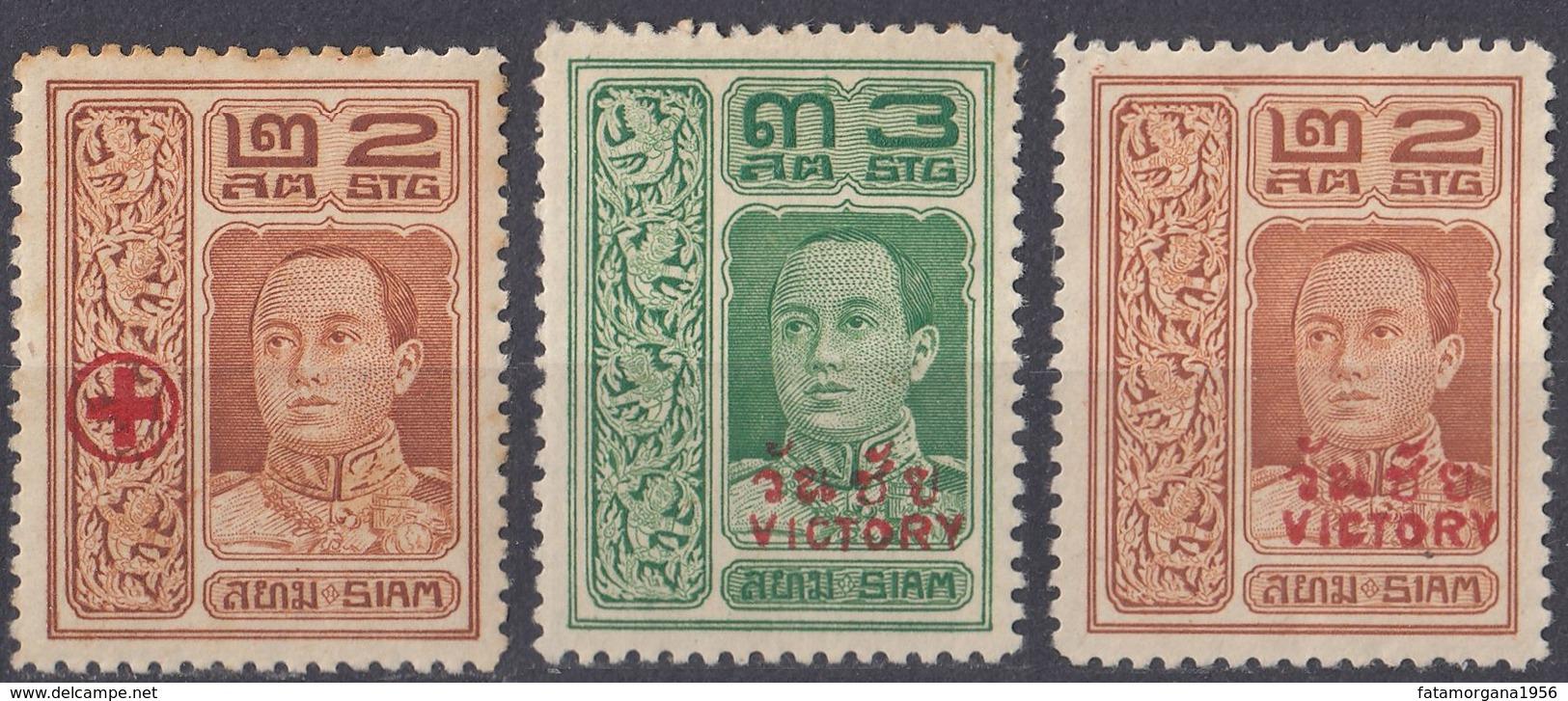 SIAM - 1918/1919 - Lotto Di 3 Valori Con Sovrastampe: Yvert 124 Nuovo MH, 135 Nuovo Senza Gomma E 136 Nuovo MH. - Siam