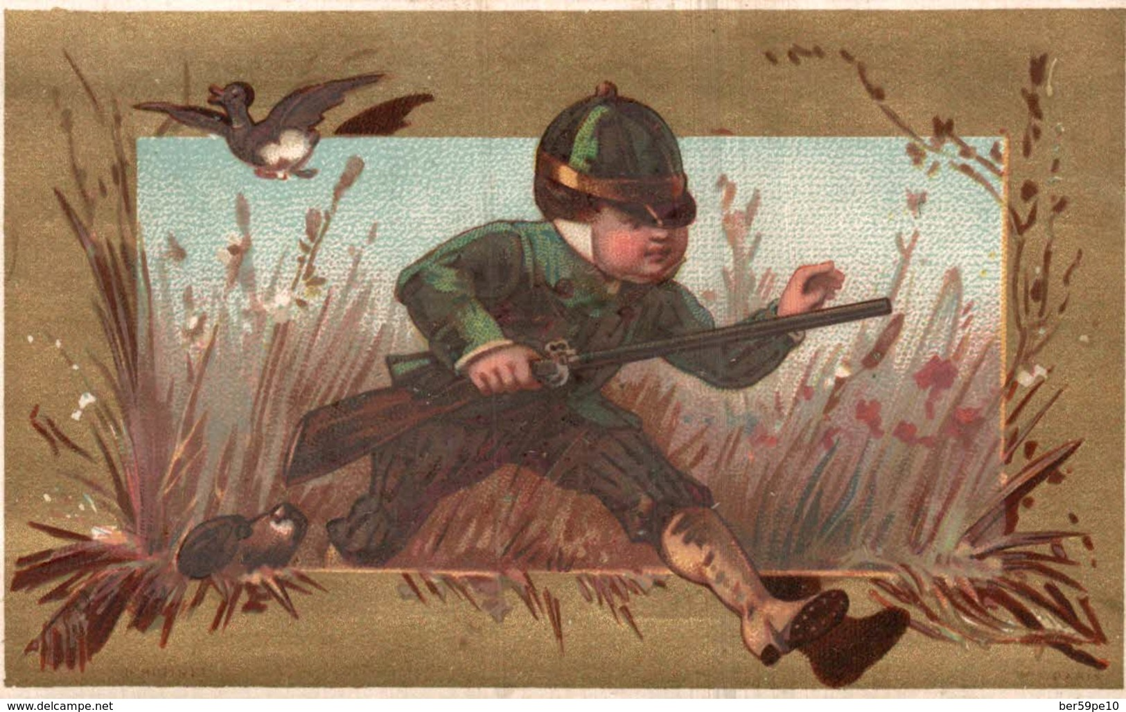 CHROMO A L'ANCIEN PIGEON EPOUSE ED. VAN ROOIJEN  ANVERS  LA CHASSE - Trade Cards