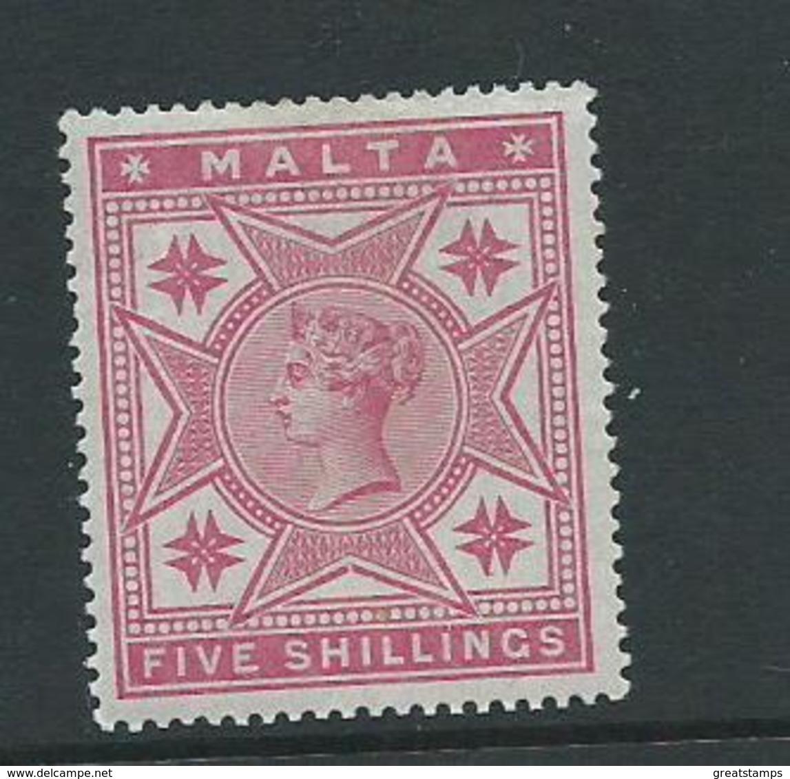 Malta Stamps Sg30 Hm Variety With Broken Cross At  Bottom 5/- - Malta