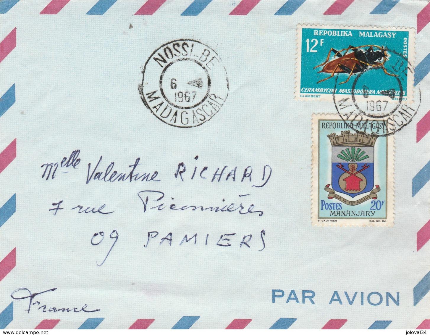 Madagascar  Yvert  438 + 428 Insecte Sur Devant De Lettre Cachet NOSSI BE 6/8/1967 Pour Pamiers Ariège - Madagascar (1960-...)