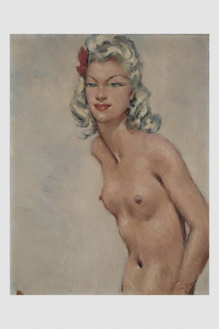 Jean-Gabriel Domergue Nude Sexy Pin-up Standing Nude. 63x50 - Fine Nudes (adults < 1960)