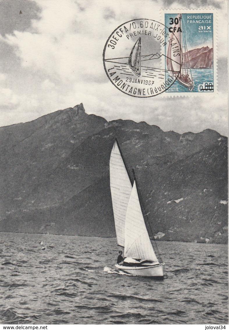 REUNION Carte Maximum Yvert 372 Aix Les Bains 29/1/1967 - Bateau Voilier - Réunion (1852-1975)
