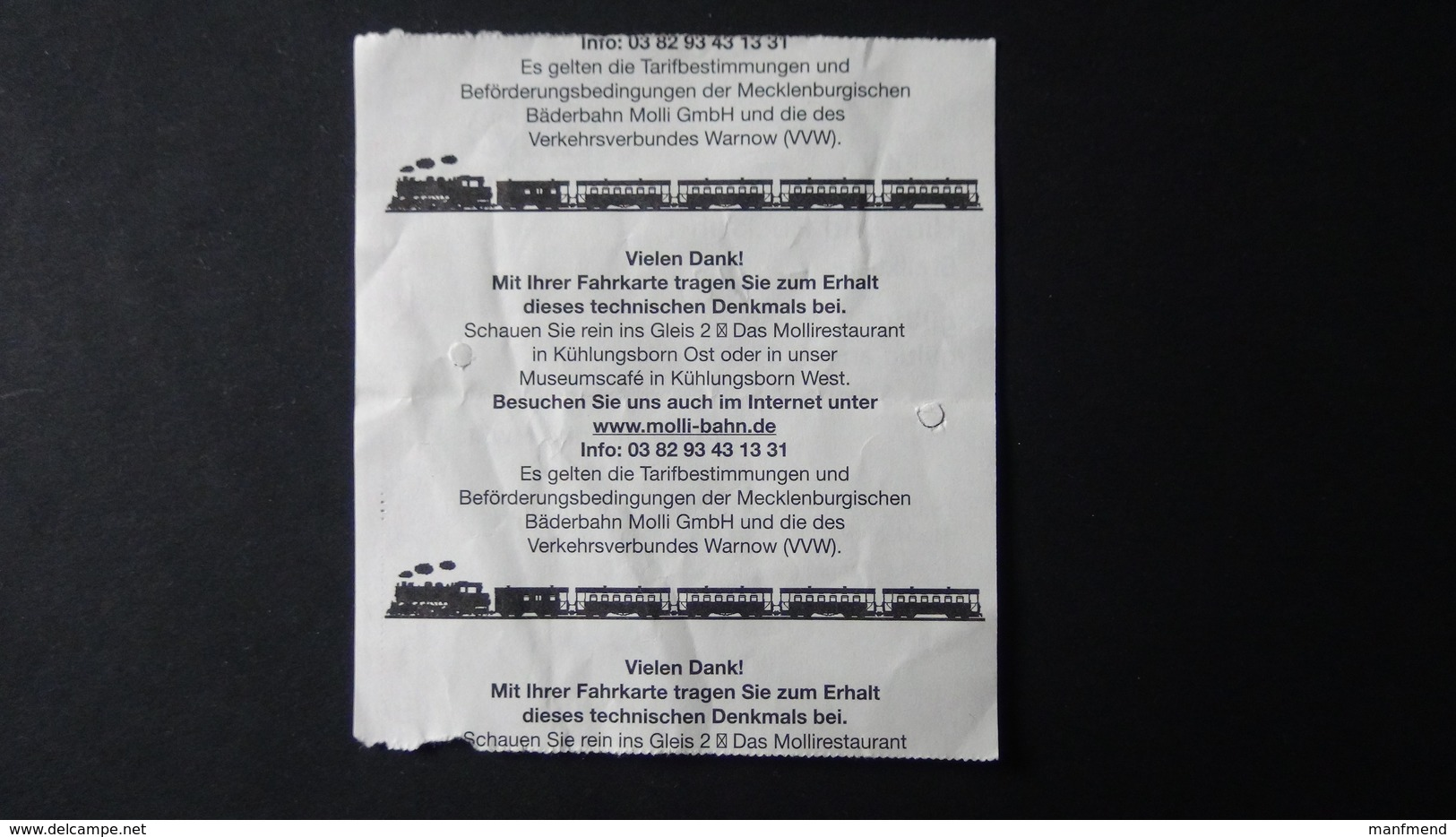 Germany - Ticket - Mecklenburgische Bäderbahn MOLLI GmbH - Steilküste-Bad Doberan - Spoorwegen