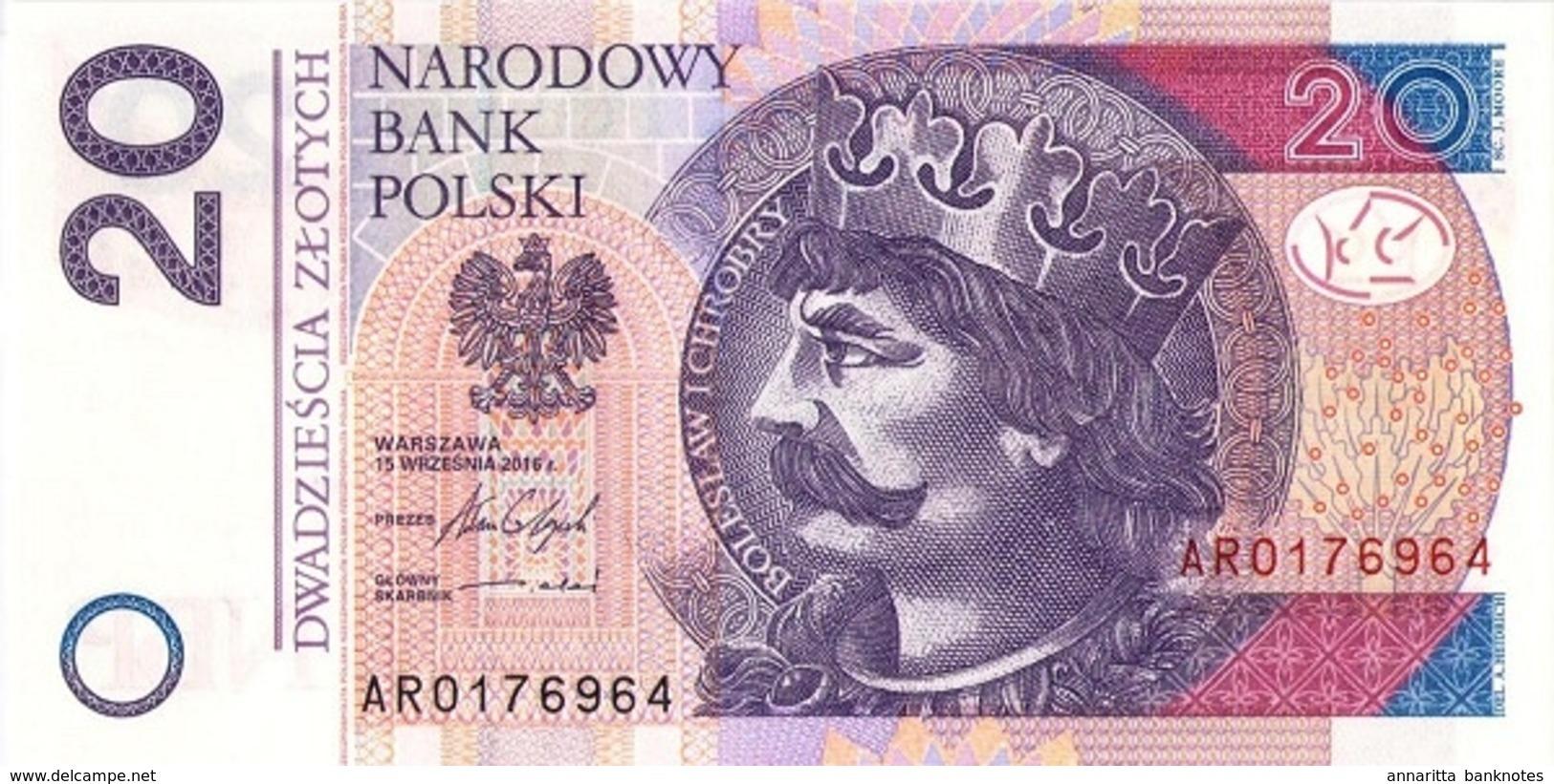 POLAND 20 ZŁOTYCH 2016 (2017) P-184b UNC  [PL860b] - Poland