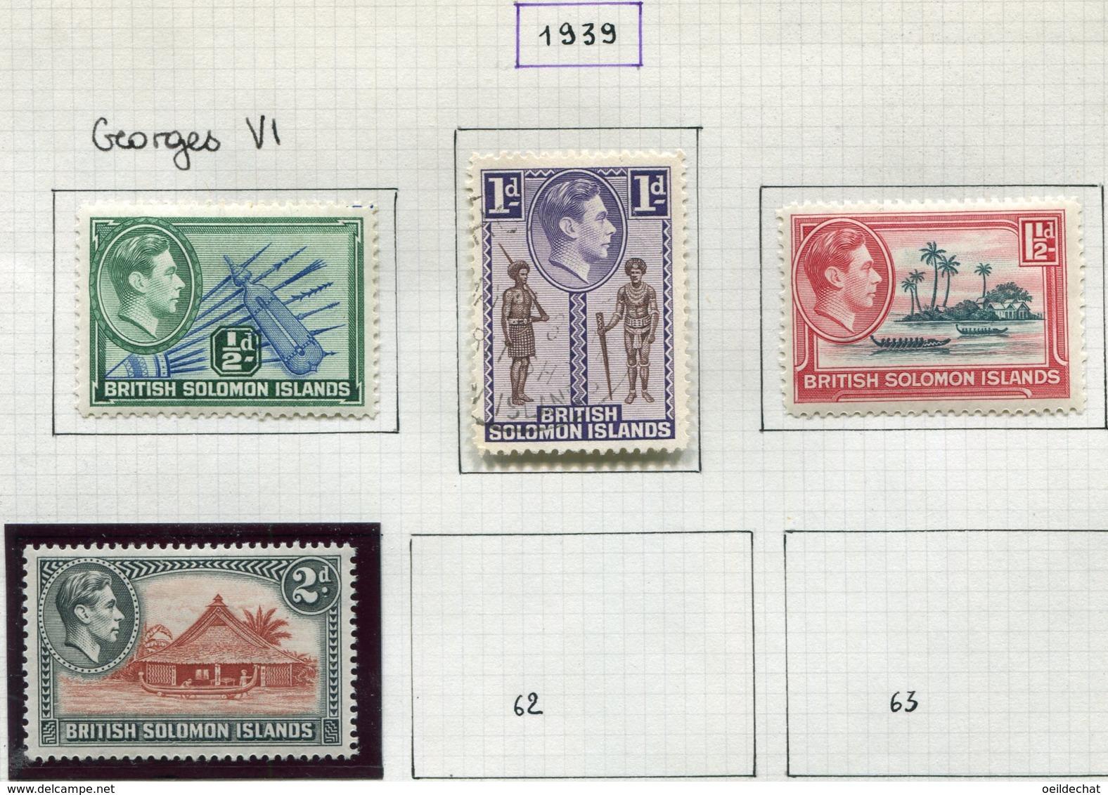 13619 ILES SALOMON Collection Vendue Par Page  N° 37, 38, 55/7, 58/61  °/ *    1923-39    B/TB - British Solomon Islands (...-1978)