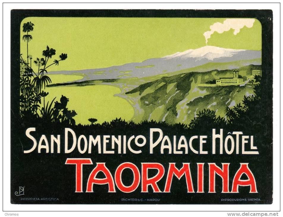 """Grande Etiquette Label Hotel """"San Domenico Palace"""" Taormina, Italie - Etiquetas De Hotel"""
