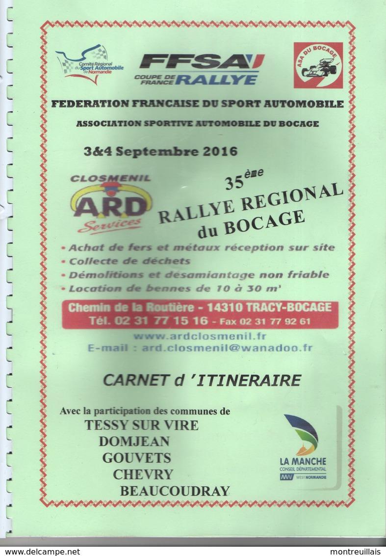 Carnet D'itinéraire Du 35ème Rallye Automobile Du Bocage, 2016, 22 Pages, La Manche, (35), TRACY-BOCAGE, TESSY, DOMJEAN - Automobile - F1
