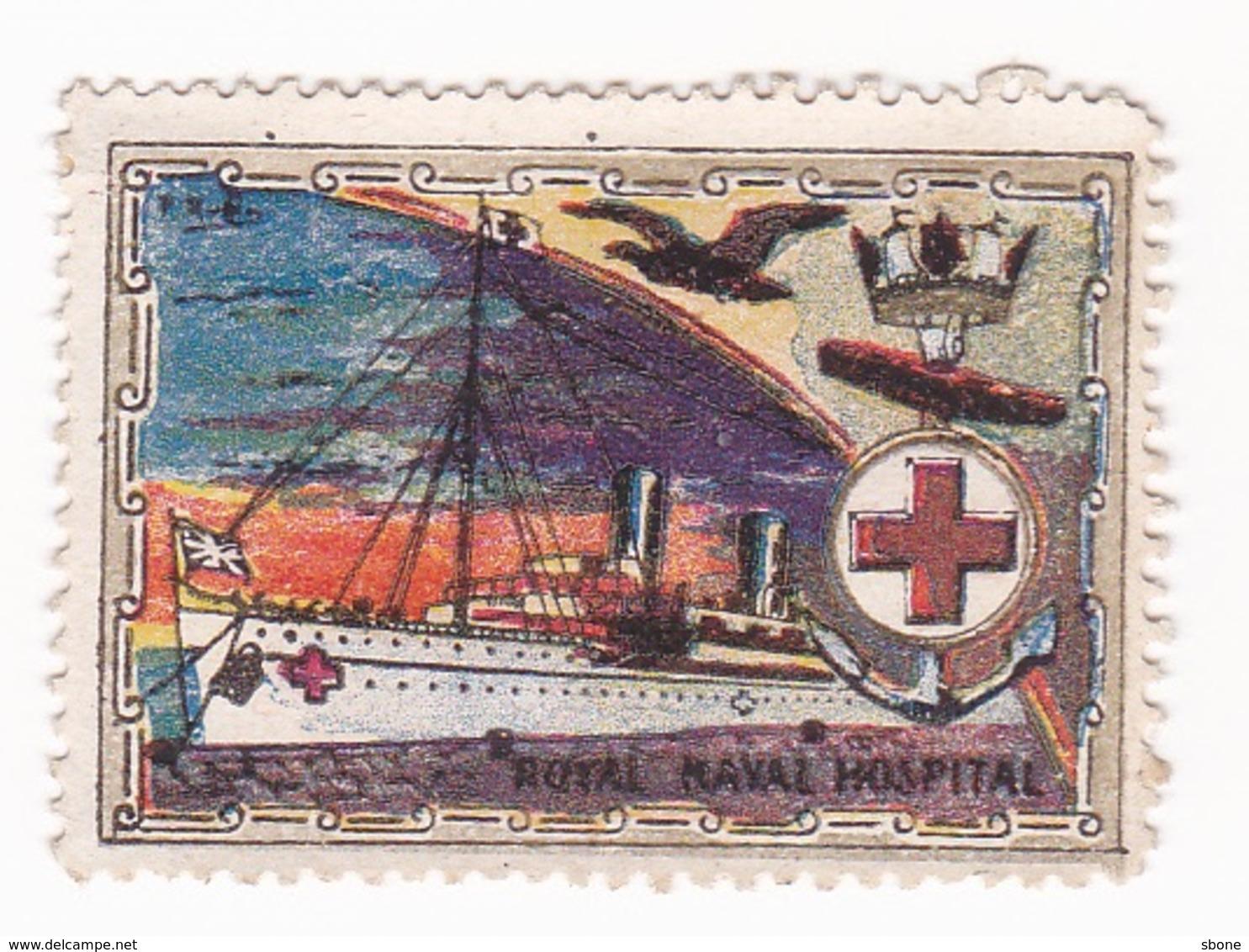 Vignette Militaire Delandre - Grande Bretagne - Royal Naval Hospital - Erinnophilie