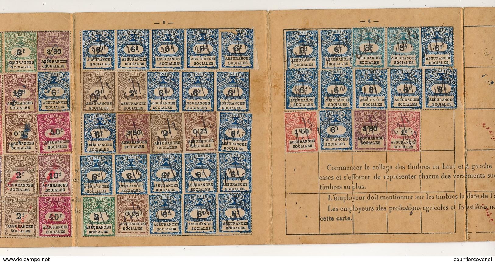 FRANCE - Feuillet Trimestriel Portant 25 Timbres + Carte Annuelle De Cotisations Portant 64 Timbres - 1931 - - Fiscaux