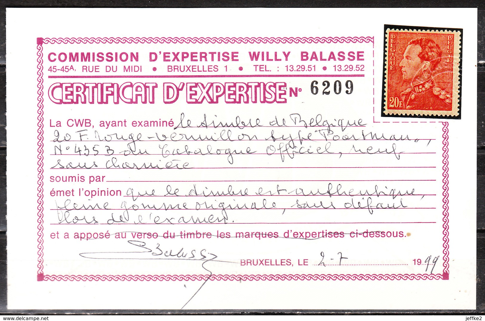 435B**  Poortman - ROUGE-VERMILLON - Certificat BALASSE - MNH** - LOOK!!!! - 1936-1951 Poortman
