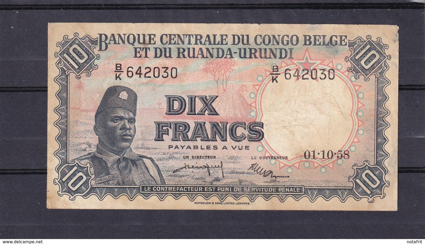 Congo Belgian  10 Fr 1958  XF And Not A Copy !! - República Democrática Del Congo & Zaire