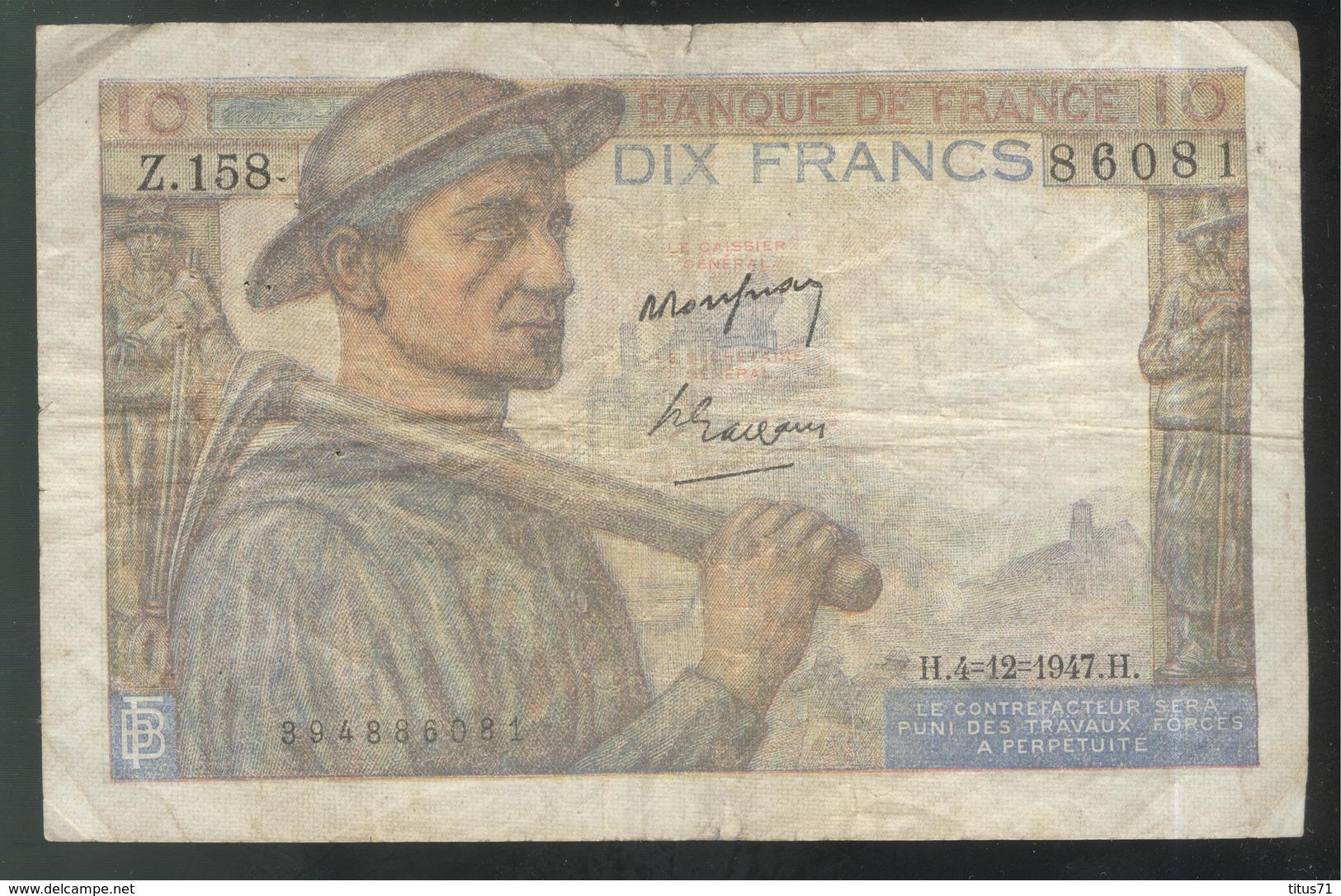 Billet 10 Francs France Mineur 4-12-1947 Bon état - 1871-1952 Circulated During XXth