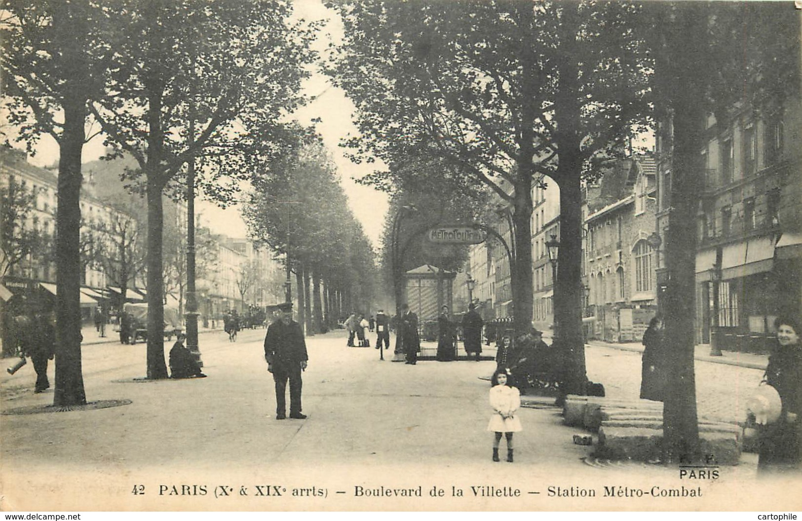 75019 - PARIS - Station De Métro Combat Au Boulevard De La Villette - Arrondissement: 19