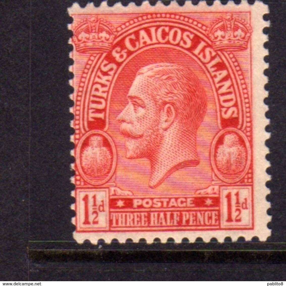 TURKS AND CAICOS 1922 1926 1925 KING GEORGE V RE GIORGIO 1 1/2p MNH - Turcas Y Caicos