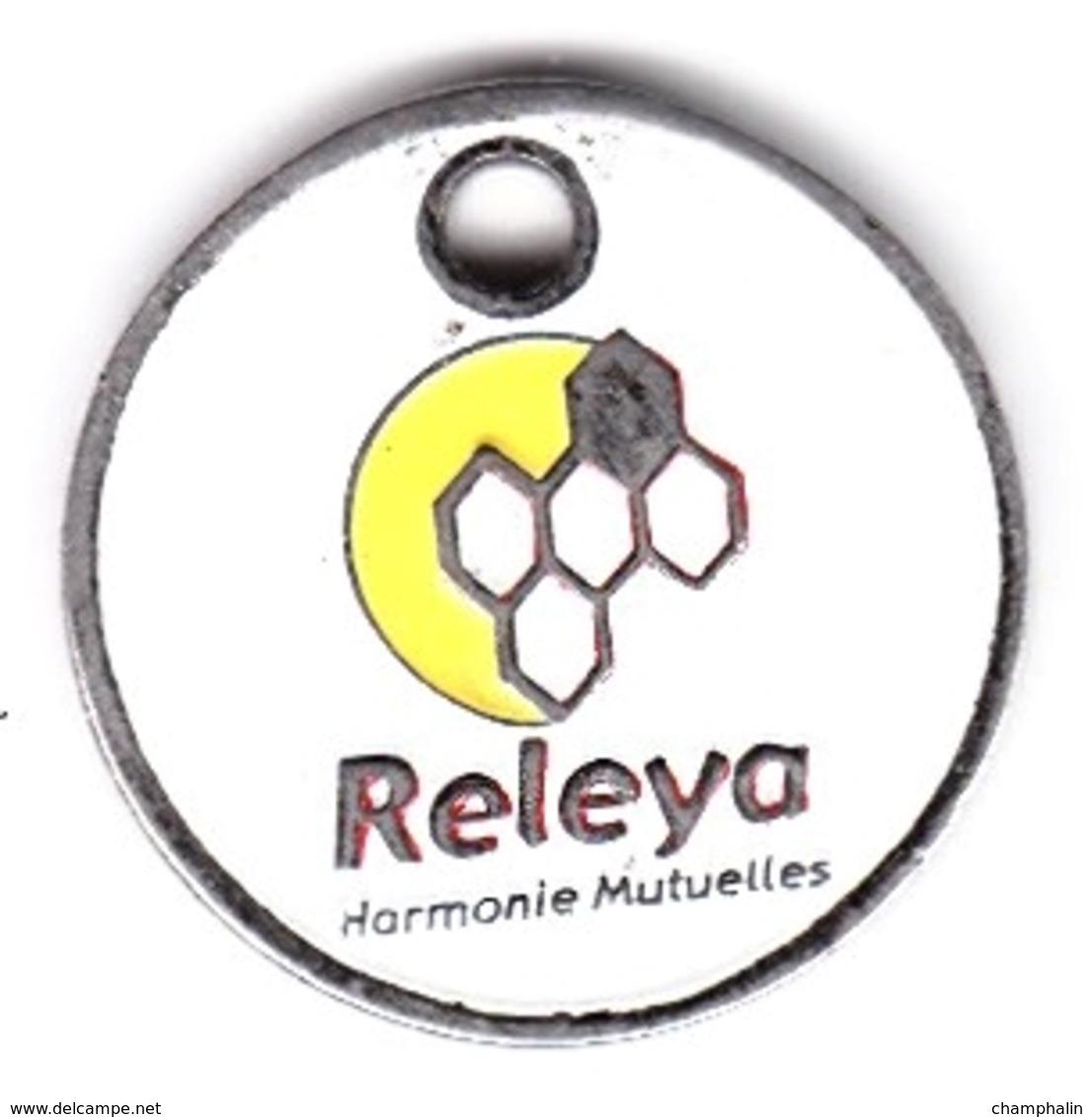 Jeton De Caddie En Métal - Harmonie Mutuelles - Releya - Assurances - Einkaufswagen-Chips (EKW)