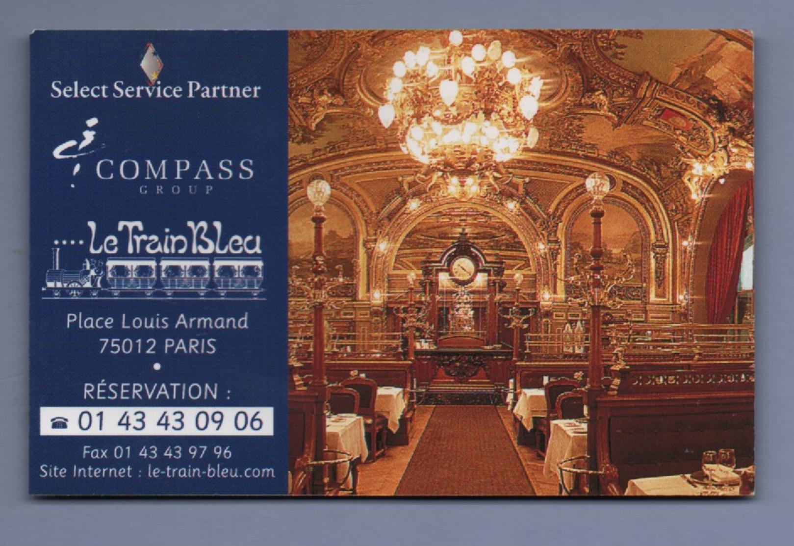 RESTAURANT LE TRAIN BLEU 75012 PARIS - CARTE DE VISITE *015* - Visiting Cards