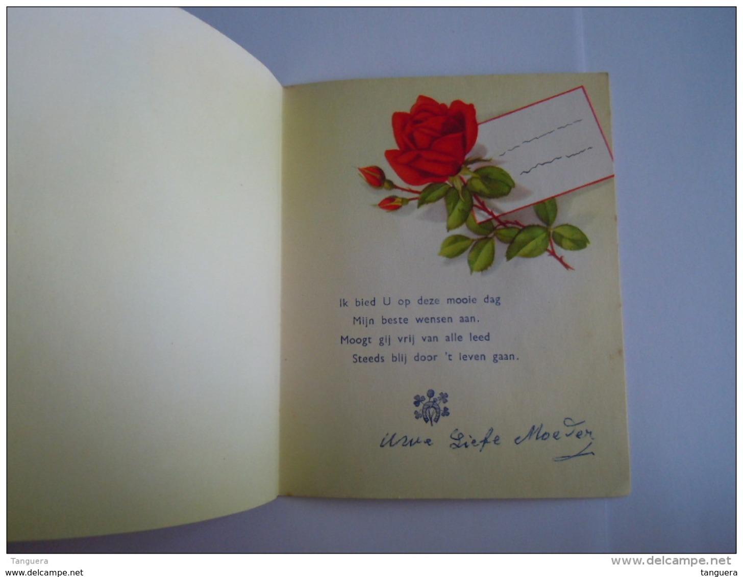 Rozen Roses Verjaardag Anniversaire Carte Double Dubbele Kaart Form 12,5 X 15 Cm Printed In U.S. Zone Germany Ilo 3651 - Flores