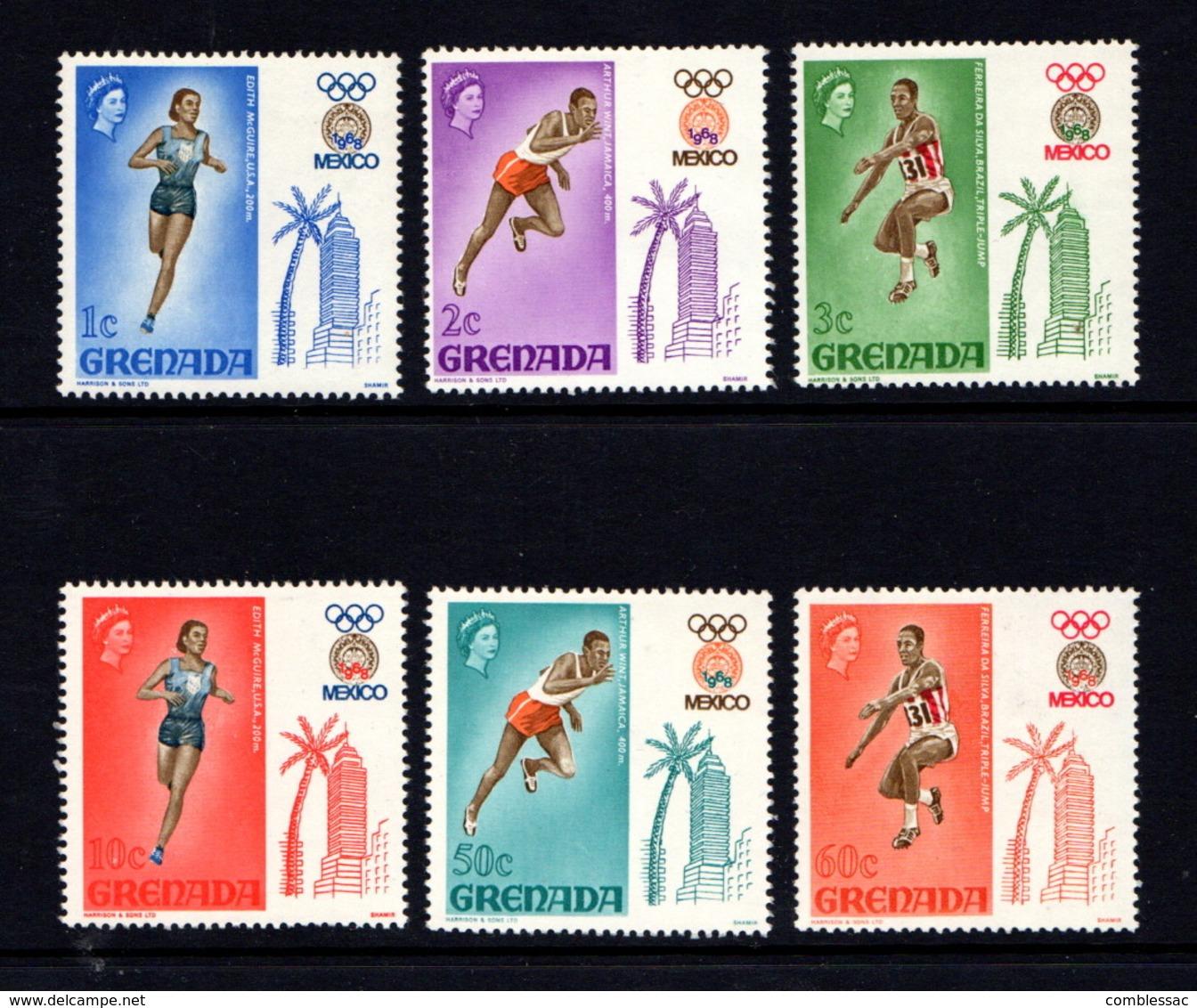 GRENADA    1968    Olympic  Games  Mexico    Set  Of  6    MH - Grenada (...-1974)