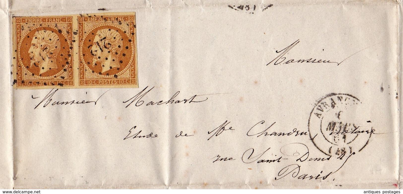 Lettre Avranches 1860 Manche Desruisseaux Notaire Paire Napoléon III 10 Centimes - 1853-1860 Napoleon III