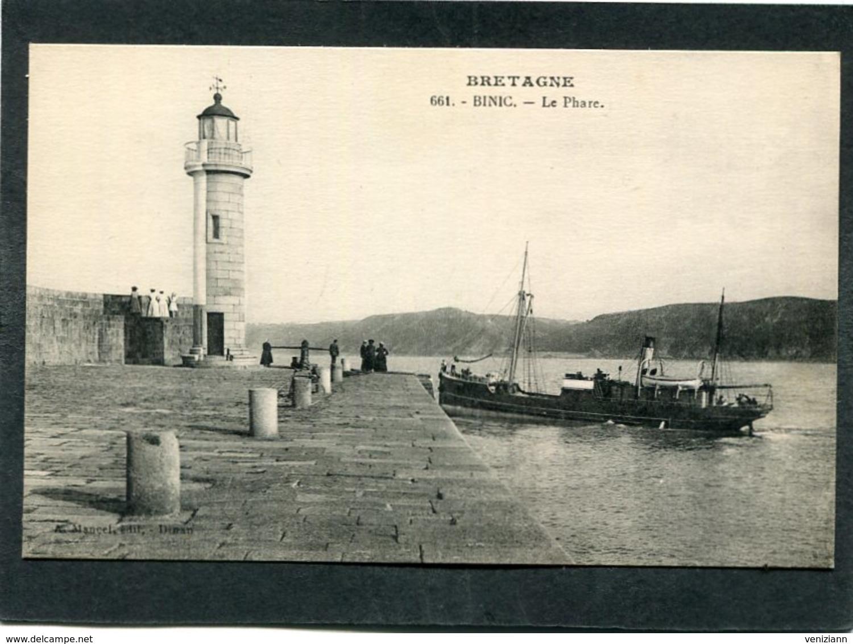 CPA - BINIC - Le Phare, Animé - Bateau - Binic