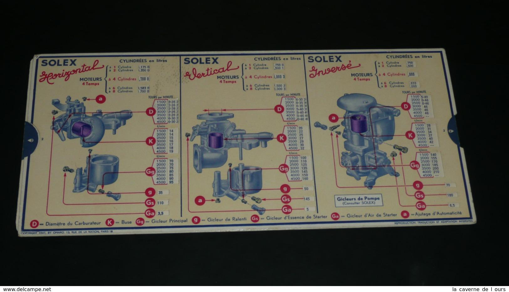 Rare Ancienne Règle à Calculer De Calcul, Carburateur SOLEX, OmarO MAR Garage Abaque - Technical