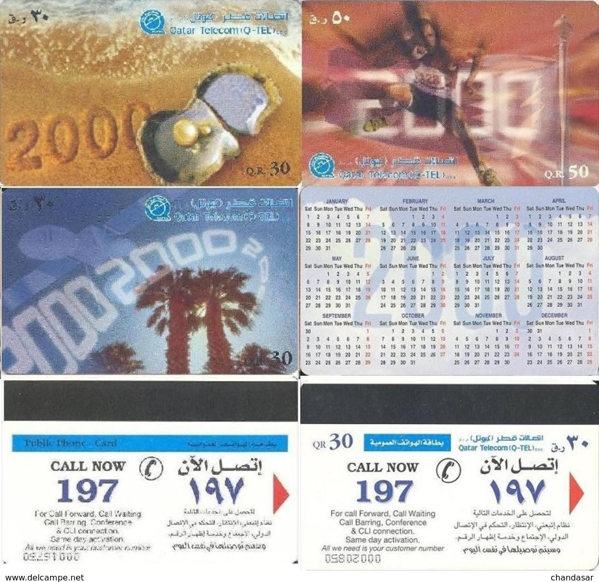 Qatar Telecom, New Mil.2000 Starts, Qatar Paintings (Lot Of 4-cards) - Qatar