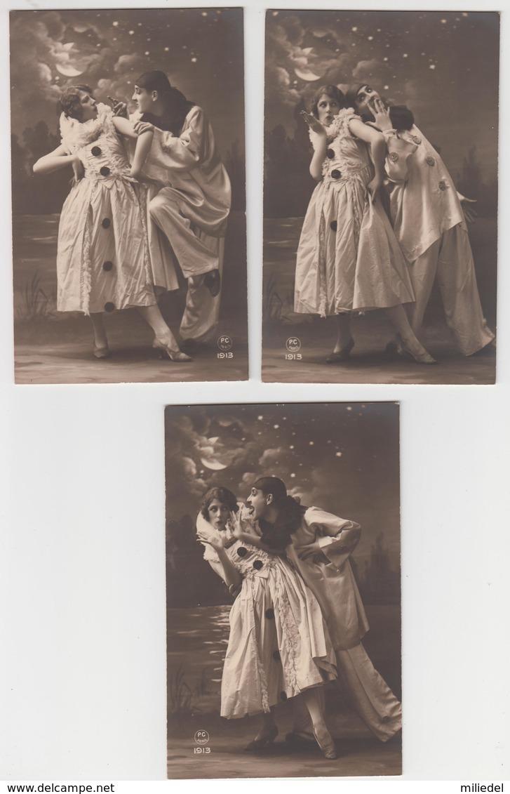 MF98 - SUPERBE SERIE DE 5 Cartes FANTAISIES - Pierrot Et Colombine - Clair De Lune - P.C Paris - Autres