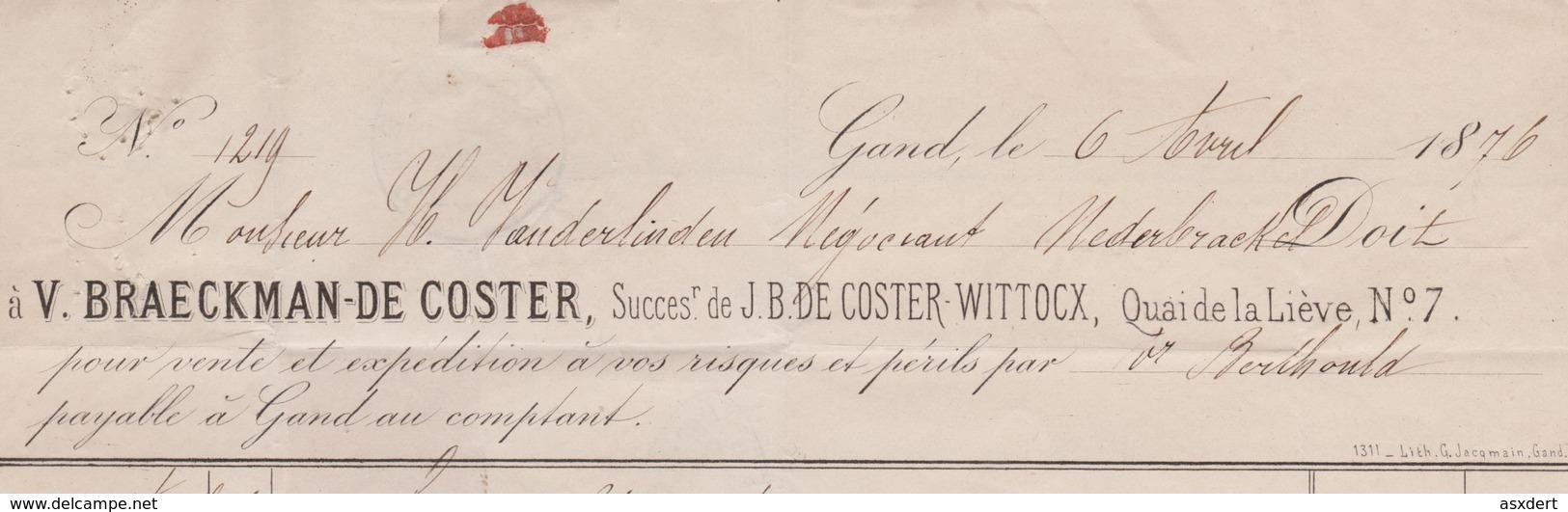 30 Lettre De Gand Vers Nederbrackel. V.Braeckman-De Coster - Heure Double 1976 - 1869-1883 Léopold II