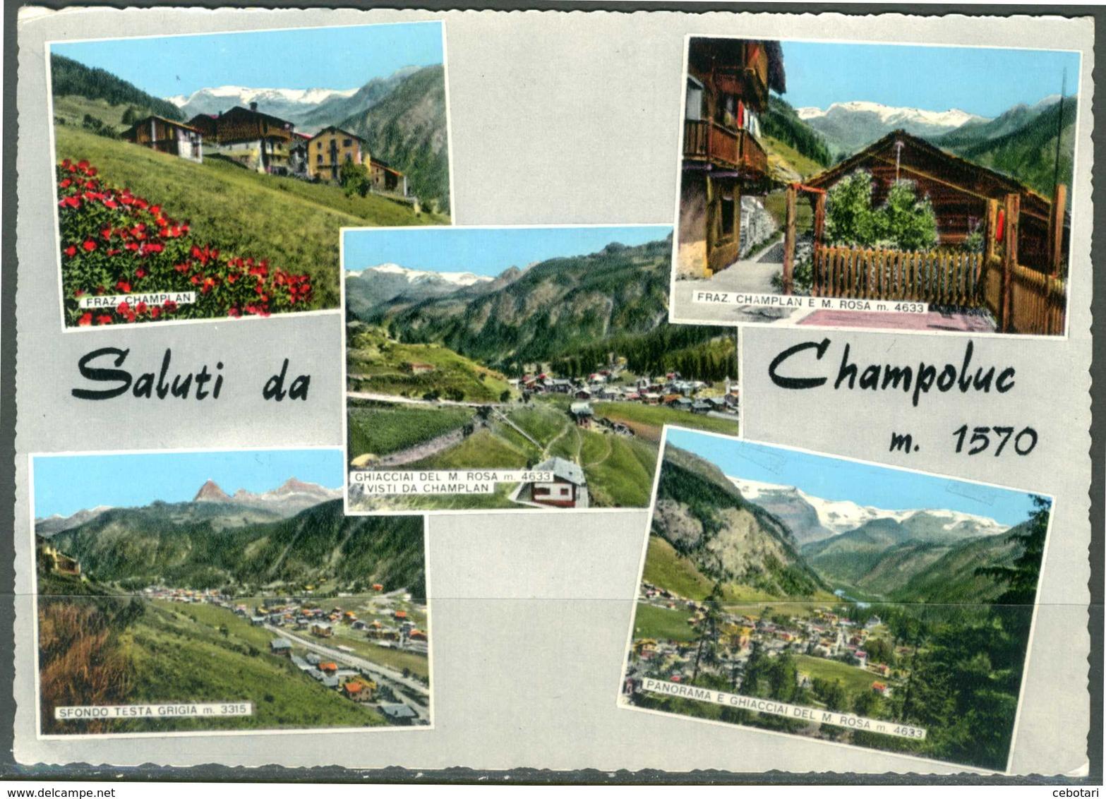 CHAMPOLUC (AO) - Saluti - Vedute - Cartolina Viaggiata Anno 1963 Come Da Scansione. - Italia