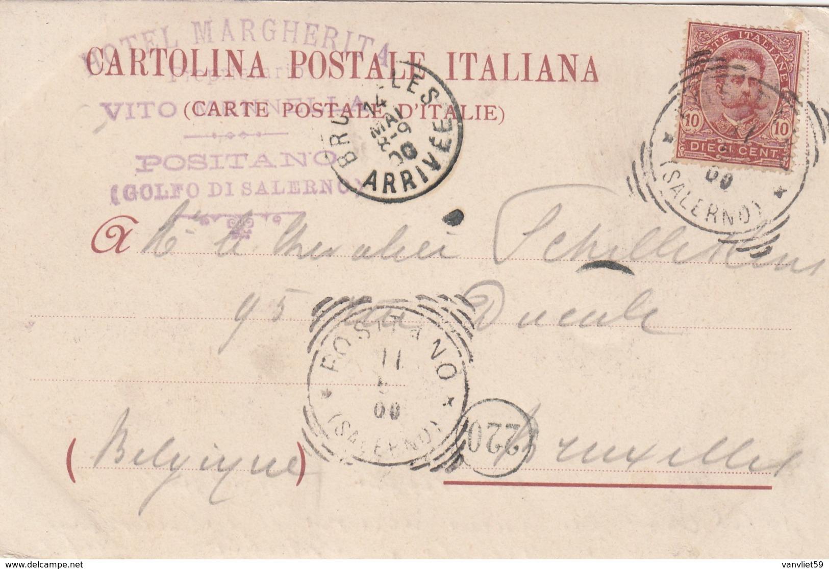 POSITANO-SALERNO-AL RETRO TIMBRO HOTEL =MARGHERITA=BELLA CARTOLINA VIAGGIATA IL 11-5-1900 - Salerno
