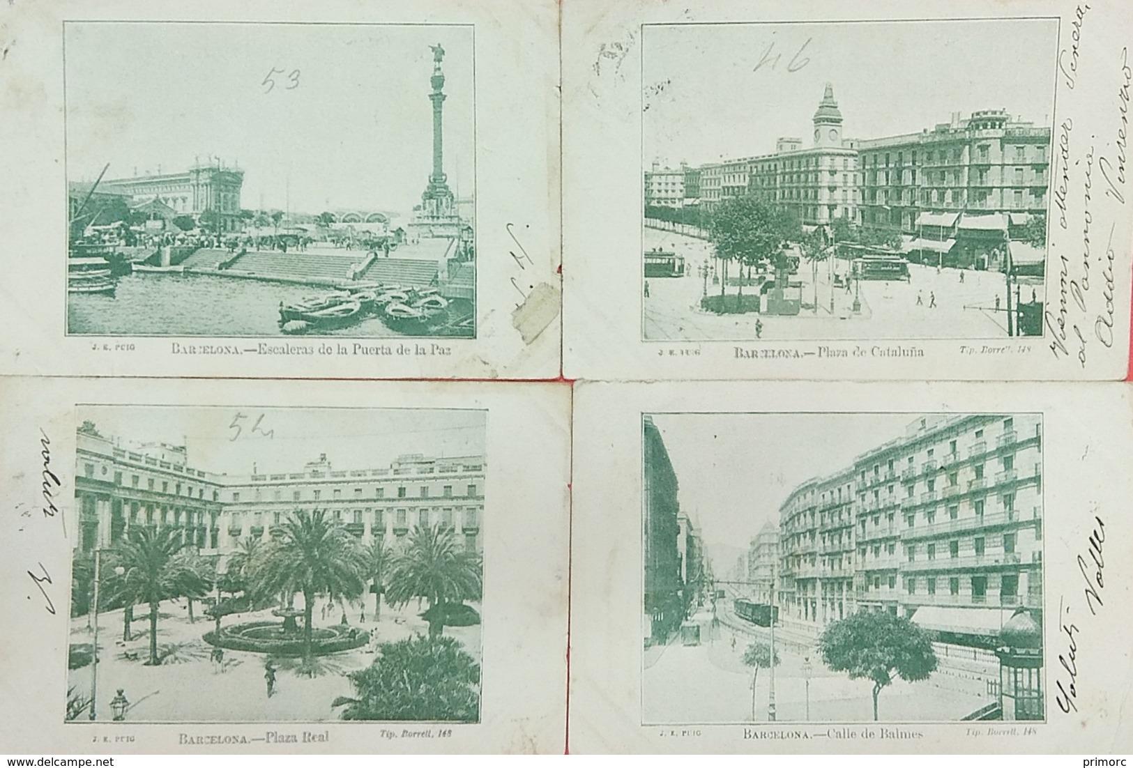 Barcelona, Lot 4 Postcards: Plaza Real, Escelares De La Puerta De La Paz, Calle De Balmes, Plaza De Cataluna - Barcelona
