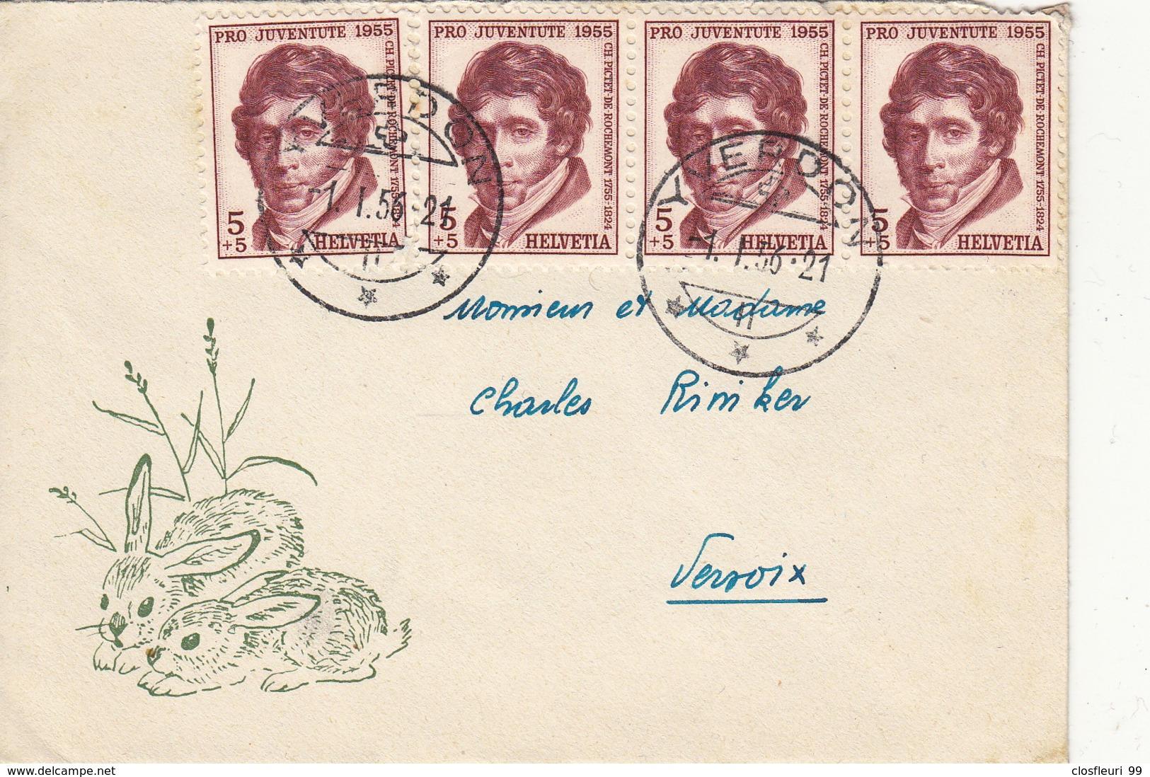 Petite Lettre De Voeux édit.  Pro Juventute De 1956 - Pro Juventute