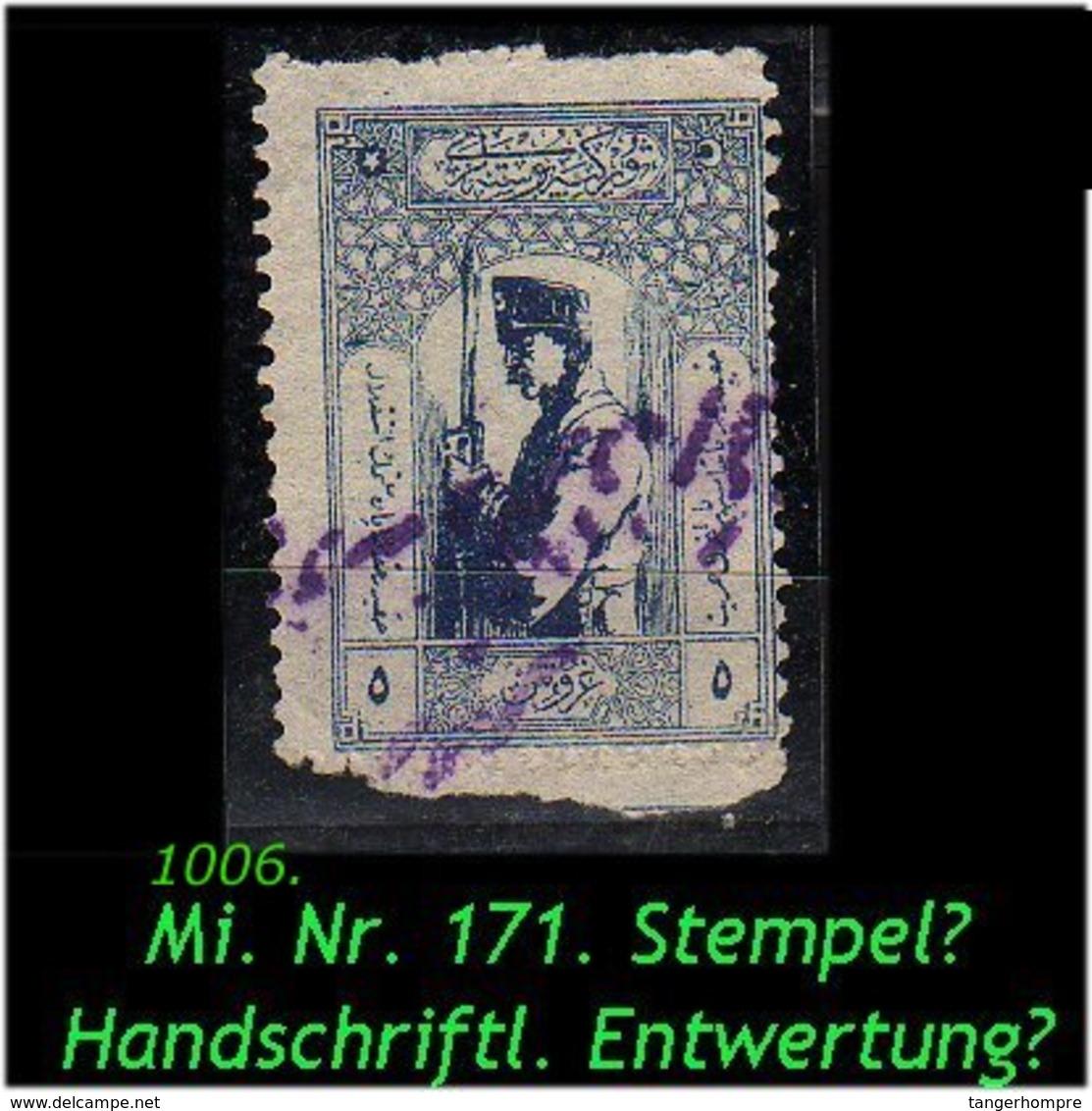 EARLY OTTOMAN SPECIALIZED FOR SPECIALIST, SEE...Mi. Nr. 771 -Handschriftliche Entwertung ? Zensurstpl.? !! -R- - Nuevos