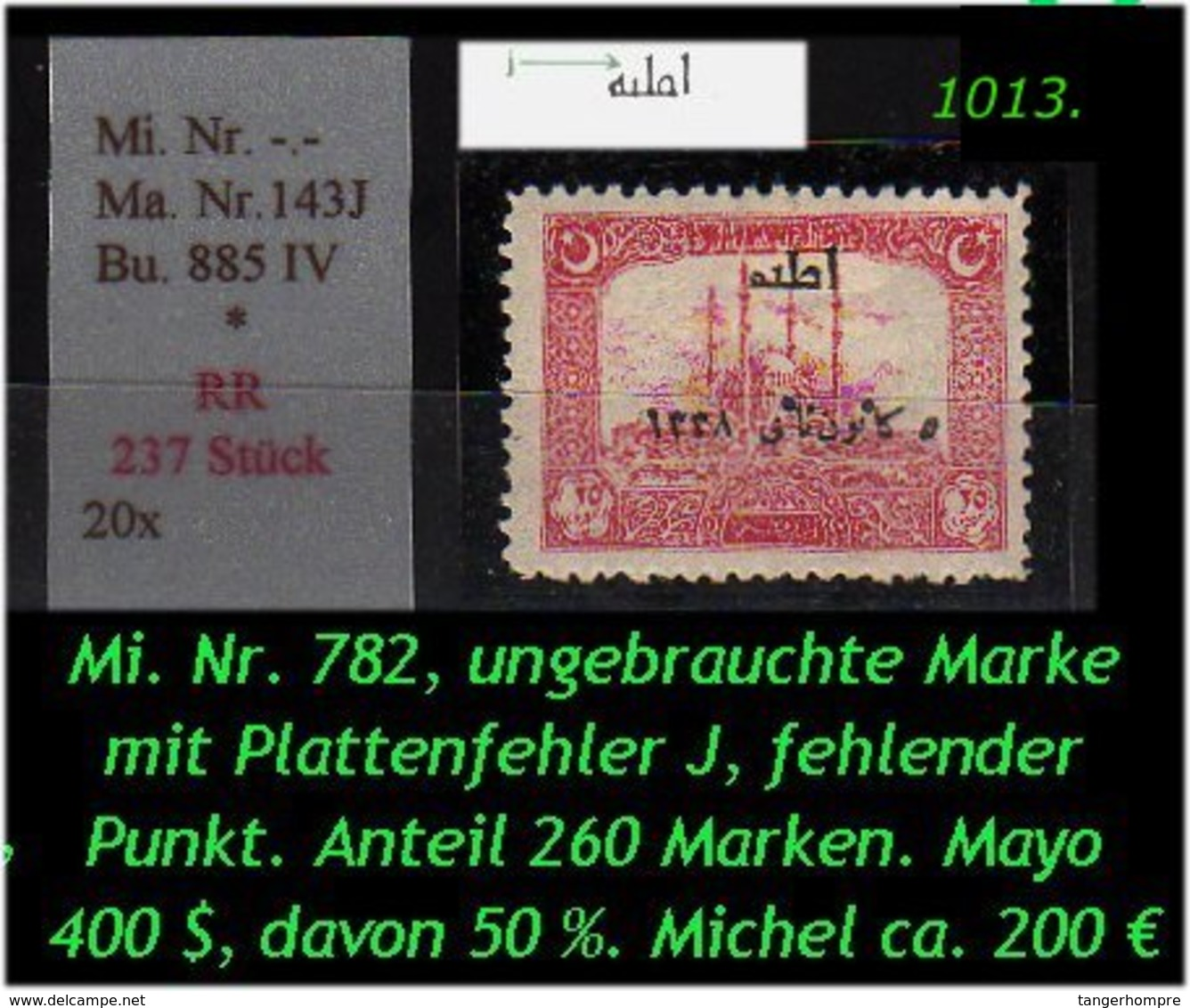 EARLY OTTOMAN SPECIALIZED FOR SPECIALIST, SEE...Mi. Nr. 782 Mit Plattenfehler - Mayo 143 J - Nuevos
