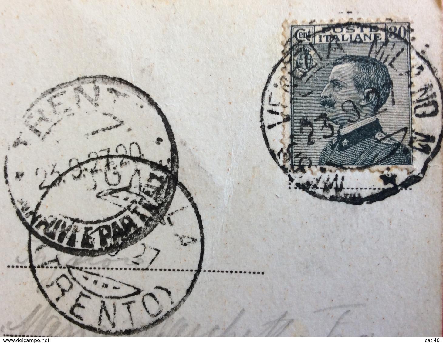 MESSAGGERE VENEZIA - MILANO N.4 Del 23/9/27 + COGNOLA TRENTO   SU CARTOLINA PADOVA BASILICA DI S.ANTONIO - 1900-44 Vittorio Emanuele III
