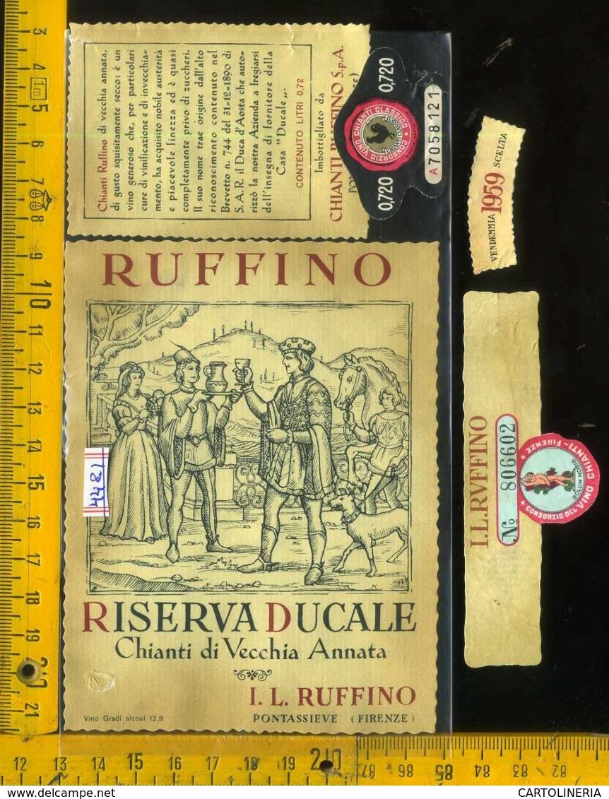 Etichetta Vino Liquore Chianti Riserva Ducale 1959 Ruffino-Pontassieve FI - Other