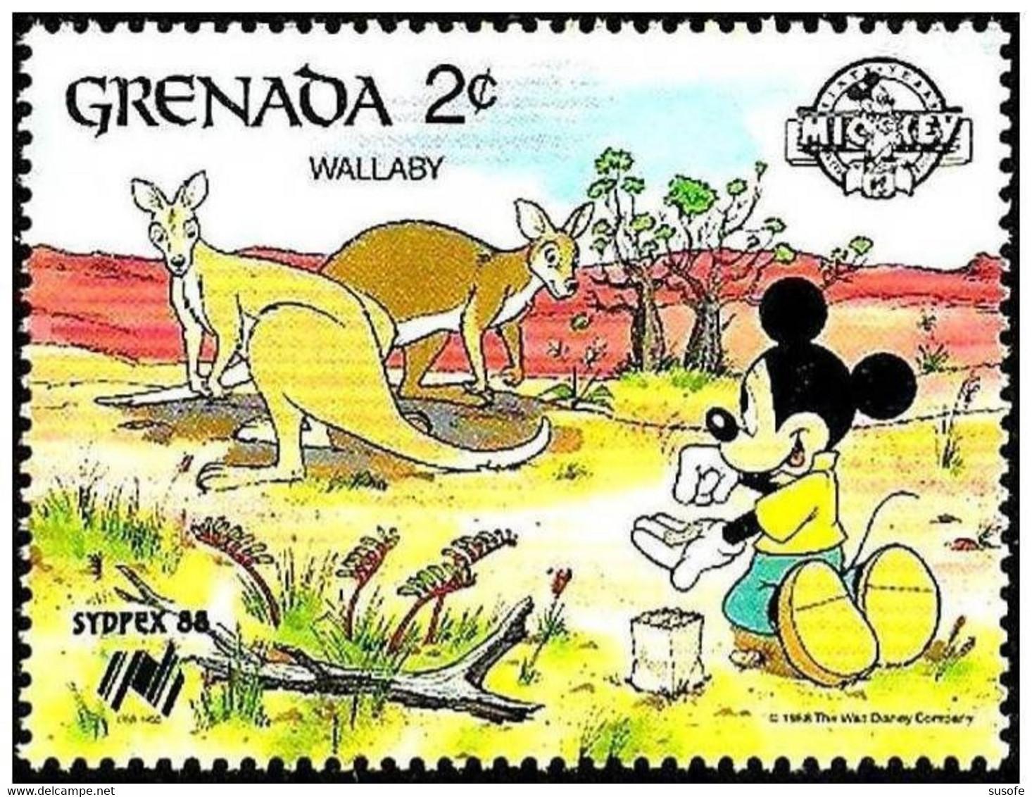Granada 1988 Scott 1639 Sello ** Walt Disney SYDPEX Australia Mickey Y Canguros 2c Grenada Stamps Timbre Grenade Briefma - Disney