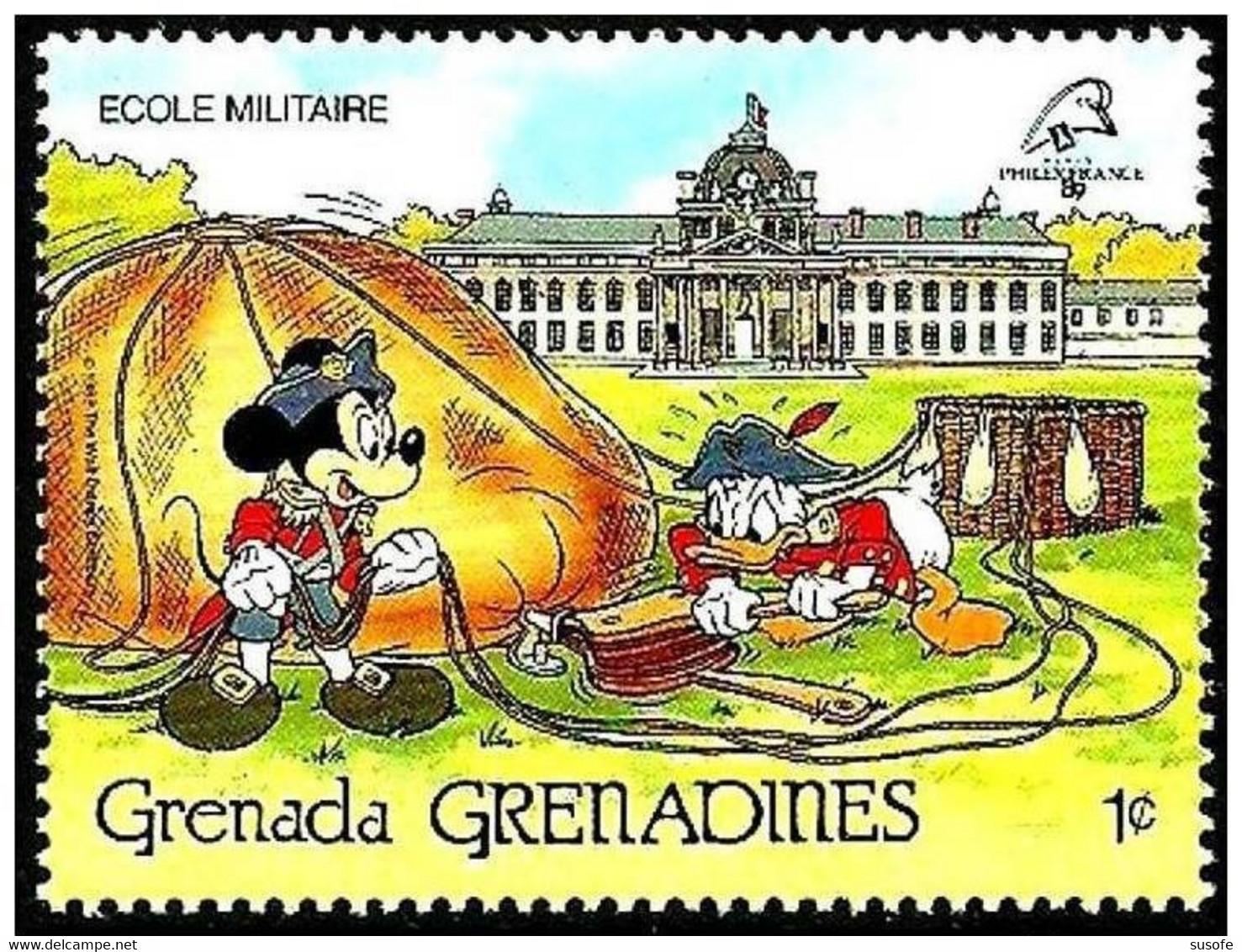 Granada Granadinas 1989 Scott 1057 Sello ** Walt Disney Escuela Militar Paris Mickey Y Donald 1c Grenada Grenadines - Disney