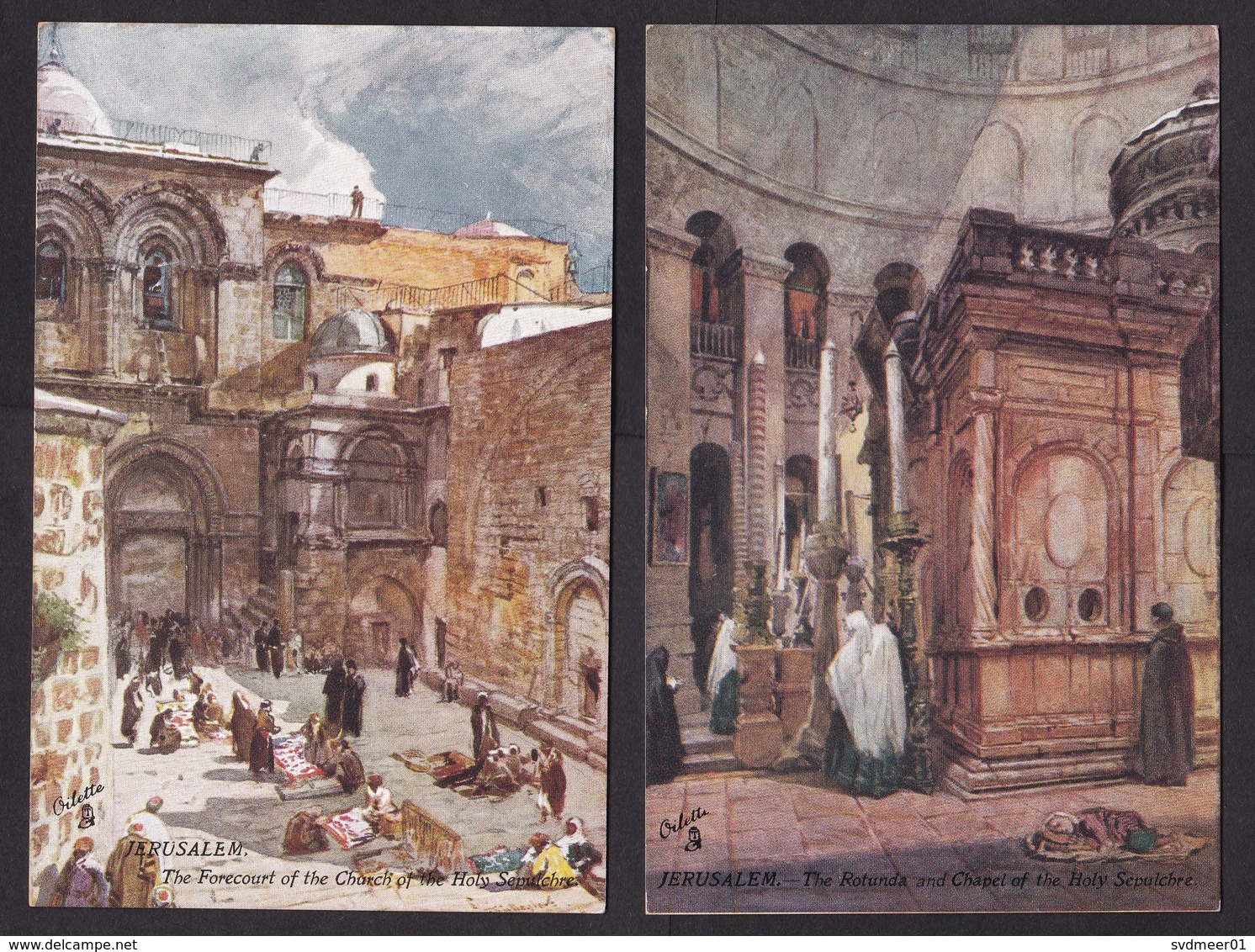 4x PPC Picture Postcard, Holy Land, Jerusalem, Dome Of The Rock, Mosque, Church, Tuck's Post Card (minor Discolouring) - Palästina