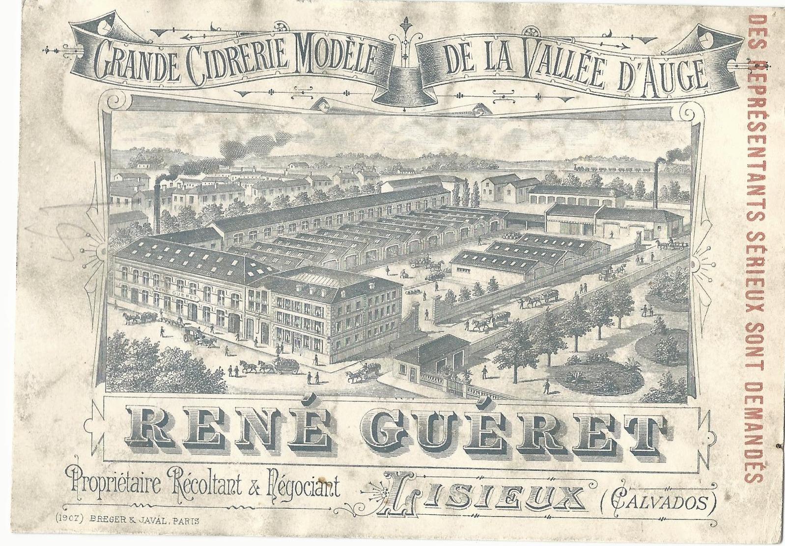 CARTE PUBLICITAIRE ANCIENNE - CIDRERIE DE LA VALLEE D'AUGE - RENE GUERET - LISIEUX - Publicidad